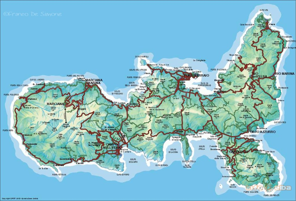 Map Of Italy And Islands.Maps Of The Island Of Elba